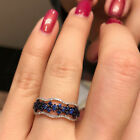 Elegant 925 Silver Filled Rings Blue Sapphire Women Wedding Ring Size 6-10 image
