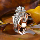 Fashion Women Rings Rose Gold Filled Round Cut White Sapphire Ring Size 6-10 image