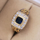 Two Tone 925 Silver Rings for Men/Women Jewelry Blue Sapphire Ring Size 6-10 image
