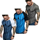 Men's Gym Summer Casual Fit Short Sleeve Slim Muscle Bodybuilding T-shirt Tee image