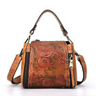 Women Fashion Small Leather Messenger Shoulder Bag Embossed Floral Tote Handbag image