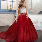 Flower Girl Princess Dress Embroidery Lace Trailing Gown for Kids Wedding Dress