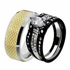 His & Hers Wedding Rings Sets Black Stainless Marquise CZ Tungsten Men Band LR