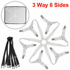 6Sides Crisscross Bed Fitted Sheet Straps Suspender Gripper Fastener Clip 3-Way image