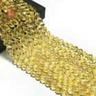 1pcs Citrine Faceted Loose Bead Spacer Healing Hole Accessories Wholesale DIY
