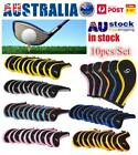 10Pcs Head Cover Golf Iron Club Putter Headcover Set Zipper Cover Sleeve Protect