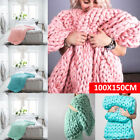 100x150cm Large Warm Sofa Chunky Handmade Knit Yarn Blanket Thick Bulky Knitted image