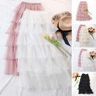 2019 Womens Sweet Fit Elastic Waist Tulle Layered Ruffles Long Maxi Tiered Skirt