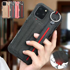For New iPhone 11 Pro Max Card Pocket Strap Canvas Cover Case XS XR 8 7 6s Plus