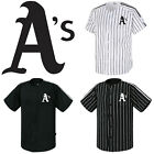 Oakland Athletic Striped Button Jersey Baseball Open T-Shirts Uniform 0111 on Ebay