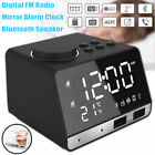 LED Display Dual Wireless Alarm Mirror Clock bluetooth Bass Speaker FM Radio US