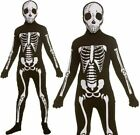 Skeleton Skin Suit Boys Halloween Lycra Bodysuit Fancy Dress Kids Girls Age 3-13