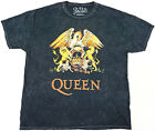 QUEEN Rock Band T-shirt Freddie Mercury Licensed Tee Black Acid Washed New image