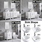 White Bathroom Vanity Wood Cabinet + Sink & Faucet & Mirror 24