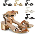 Womens Ankle Strap Sandals Block Low Heel Peep Toe Ladies Casual Party Shoes 3-8