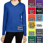 Ladies Long Sleeve T-Shirt Moisture Wicking V-Neck Base Layer Womens XS-XL 2X 3X