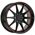 "4-Ruff Speedster 18x8 5x100/5x114.3 (5x4.5"") +38mm Black/Red Wheels Rims $888.79 CAD on eBay"