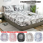 Elastic Fitted Sheet Deep Pocket All Around Microfiber Mattress Cover Pillowcase image