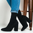 Women Stretch Ankle Boots Ladies Zipper Mid Block Heel Sock Party Shoes Size 4-7