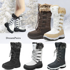 DREAM PARIS Women Waterproof Rubber Faux Fur Winter Warm Mid Calf Zip Snow Boots