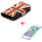 iPhone 5C 5S - NEW Flip Wallet PVC Leather Cover Case + Free Screen Protector