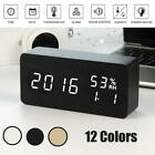Modern LED Wood Alarm Clock Temperature Humidity Desk Digital Table Night Light