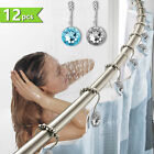 double hooks rhinestone crystal shower curtain rings stainless steel 12pcs decor