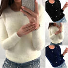 1x Autumn Sweater Women Pullovers Bead Plush Knitted Sweater Warm Comfy Soft Top