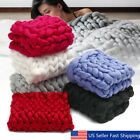 Luxury Hand Chunky Knitted Line Yarn Warm Throw Over Bed Soft Blanket  US o image