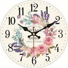 Wooden Wall Clock Vintage Retro Floral Designed Home Patio Art Watch Decorations