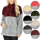 KOGMO Womens Soft Faux Fur Zip Up Two Tone Sweater with Kanggaroo Pockets