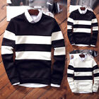 Men's Striped Long Sleeve Shirt Slim Fit Casual Tops Winter Fall Tee Blouse 2020