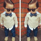 Kids Boys Outfits Sets Formal Bow Tie T Shirts Tops Denim Jeans Pants Trousers