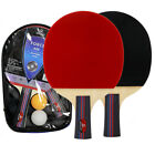 Table Tennis Racket Ping Pong Paddle Bat Handle Training With 2pcs Balls 7 Layer