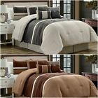 Chezmoi Collection 7-Piece Lodge Pleated Stripe Pieced Micro Suede Comforter Set image
