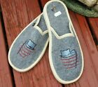 WOMEN 100% FELT BOILED GRAY WOOL HOUSE SLIPPERS MULES EMBROIDERY CAT DESIGN