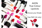 AVON TRUE COLOUR LIPSTICK Choose your Shade FACTORY SEALED **FREE P&P** MULTIBUY