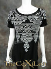 Womens VOCAL Shirt Short Sleeve Black with Pleated Sheer Back  Stones