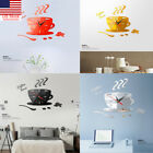 US Modern DIY Large Wall Clock Kit 3D Mirror Surface Sticker Home Office Decors,