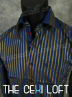 Mens Western Fashion Button Front Dress Shirt Blue And Bronze Stripes w/ Pocket
