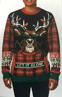 Ugly Holiday Christmas Sweater Reindeer Let It Glow Lights NEW Various Size
