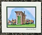 The old Brown Outhouse Art Print Toilet Shed Farmhouse Bathroom Bath Wall Decor