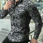 Mens Flower Printed Shirt Long Sleeve Slim Fit Holiday Office Tops Tee Shirts