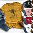 Summer Womens Tops Fashion Happy Bee Printed T Shirt Tee Animal Print Blouse