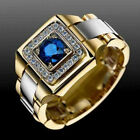 Two Tone 925 Silver & Gold Plated Rings For Men Blue Sapphire Ring Size 6-12