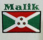 Burundi Flag / Personalized with name. Baby Bodysuit Embroidered