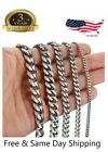 """18""""-36"""" Stainless Steel Silver Tone Chain Mens Necklace 3/5/7/9/11mm"""