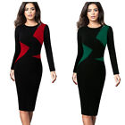 Womens Elegant Colorblock Slim Work Business Office Party Bodycon Pencil Dress