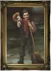 Brown Lost and Found 1880 Wood Framed Canvas Print Repro 12x18
