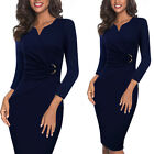 Womens Elegant Ruched Work Office Business Cocktail Party Bodycon Pencil Dress